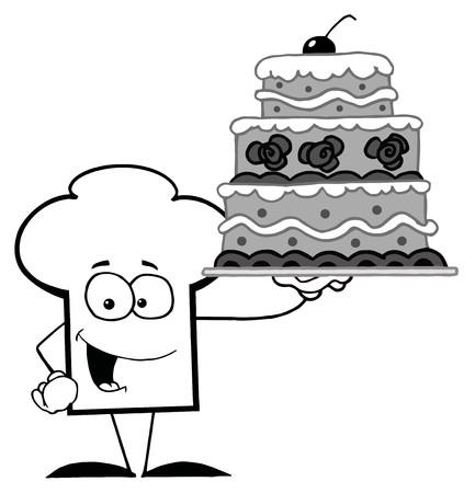 whitern: Outlined Chef Hat Guy Holding A Cake  Illustration