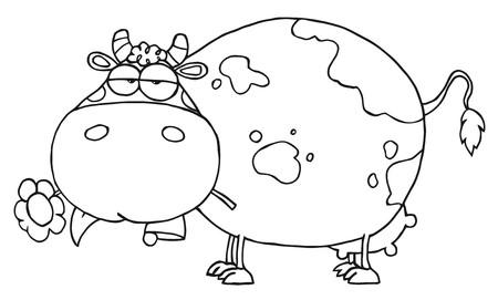 caricaturas de animales: Esbozado Cow Chubby comer una flor de Daisy