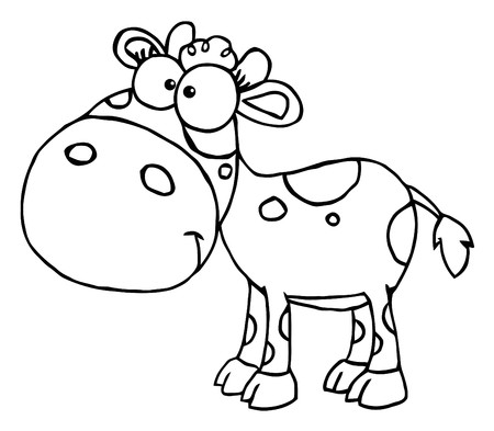 Outlined Baby Cow Stock Vector - 7849263