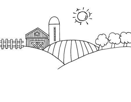 Esquema de página de coloración de Rolling Hills, una granja y silo en tierra de Farm  Foto de archivo - 7849403