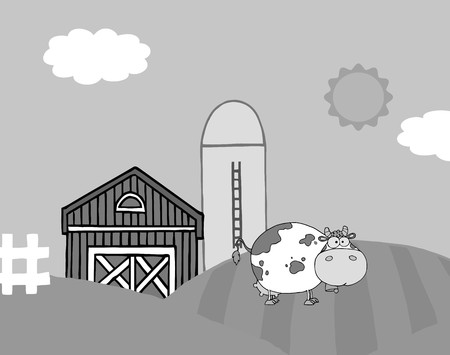 vectorrn: Grayscale Cow On A Hill Near A Silo And Barn