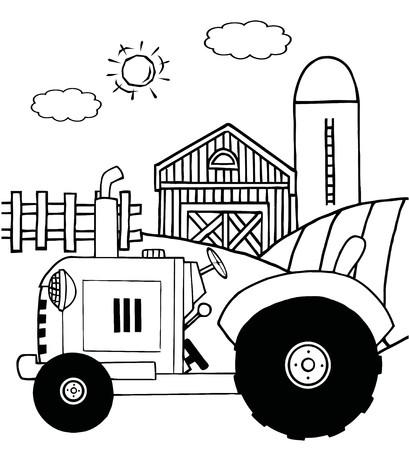헛간 및 격납고 근처 목초지에서 농장 트랙터를 설명