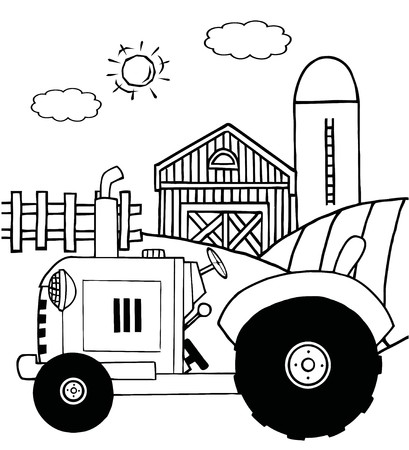 coloring book page: Outlined Farm Tractor In A Pasture Near A Barn And Silo