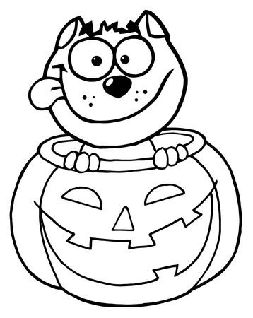 Colorear el esquema de página de un gato feliz en una calabaza  Foto de archivo - 7849341