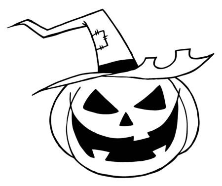 whitern: Black And White Outline Of A Jack O Lantern Wearing A Witch Hat