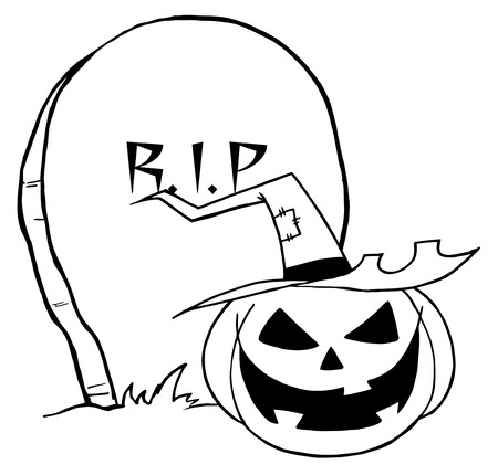 whitern: Outlined Jack O Lantern By A Tombstone