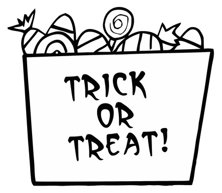 drawings image: Black And White Trick Or Treat Bucket Of Candy