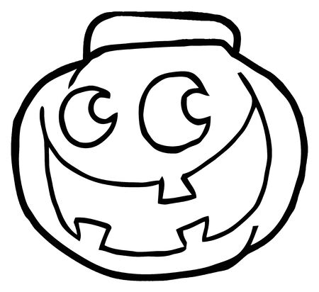 Outlined Happy Jack O Lantern Pumpkin Banco de Imagens - 7849245