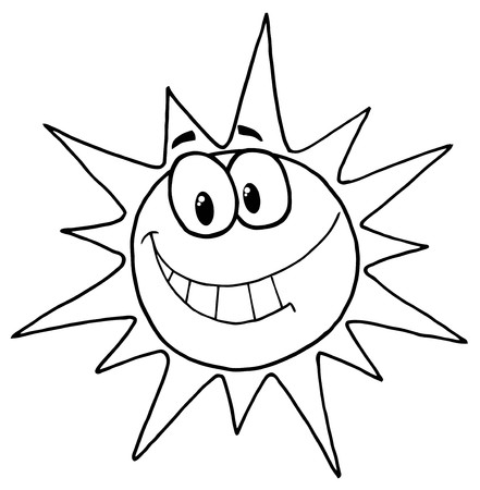 Outlined Sunny Face Smiling  Vector