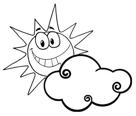 dibujos para colorear: Esbozado Sunny cara sonriente detr�s de una nube  Vectores
