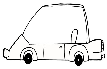 Outlined Unique Compact Car  Vector