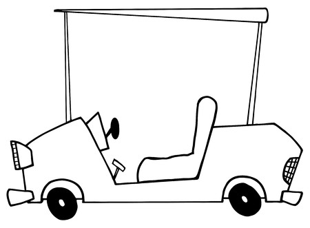 buggy: Outlined Golf Cart  Illustration