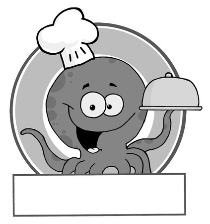 Grayscale Octopus Chef  Vector