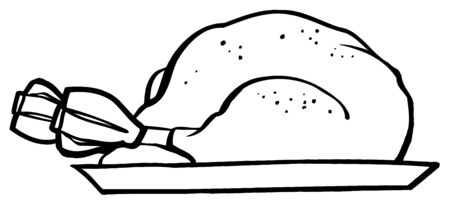 whitern: Outlined Roasted Turkey On A Tray
