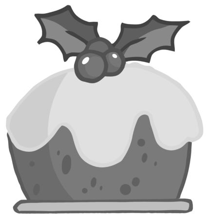 topped: Grayscale Holly Topped Christmas Pudding