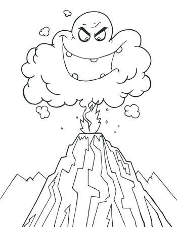 disaster: Coloring Page Outline Of An Evil Ash Cloud Above An Erupting Volcano  Illustration