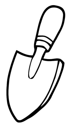 Coloring Page Outline Of A Small Gardeners Hand Trowel