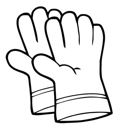 園芸の手の手袋のペアの着色ページ概要  イラスト・ベクター素材
