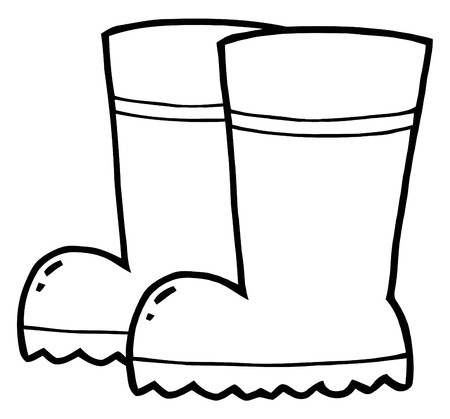 Coloring Page Outline Of A Pair Of Gardening Rubber Boots  Illustration