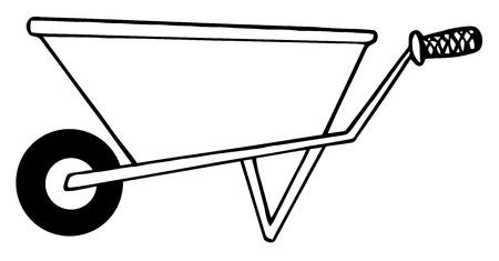 carretilla: Colorear el esquema de p�gina de un Barrow de rueda de jardiner�a