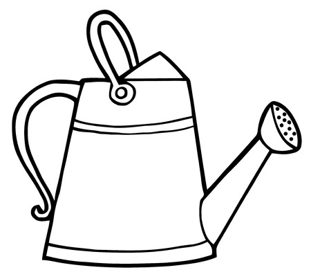 watering can: Coloring Page Outline Of A Gardening Watering Can  Illustration