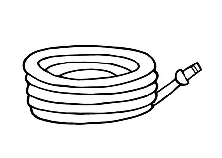 water hoses: Outlined Garden Hose  Illustration