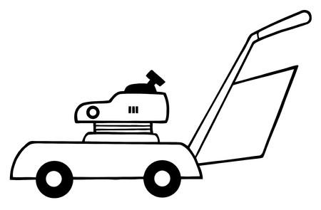 garden maintenance: Outlined Lawn Mower  Illustration