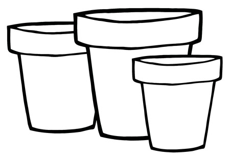 printable coloring pages: Three Outlined Terra Cotta Pots