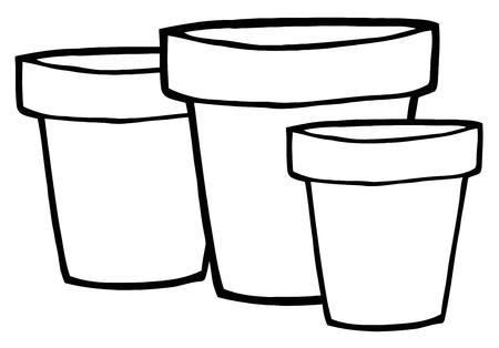 plant pot: Three Outlined Terra Cotta Pots