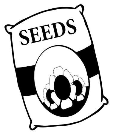 whitern: Black And White Bag Of Flower Seeds  Illustration