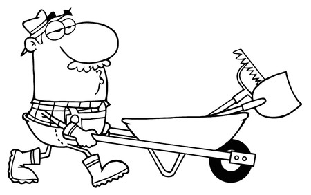 printable coloring pages: Outlined Male Landscaper Pushing A Rake And Shovel In A Wheelbarrow  Illustration