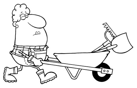 Outlined Female Landscaper Pushing A Rake And Shovel In A Wheelbarrow  Vector