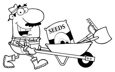 Geschetste mannelijke tuinarchitect drijvende zaden, een hark en schop in een kruiwagen