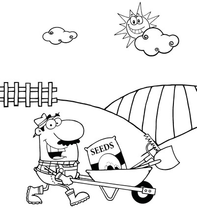 printable coloring pages: Outlined Male Farmer Pushing Seeds, A Rake And Shovel In A Wheelbarrow  Illustration