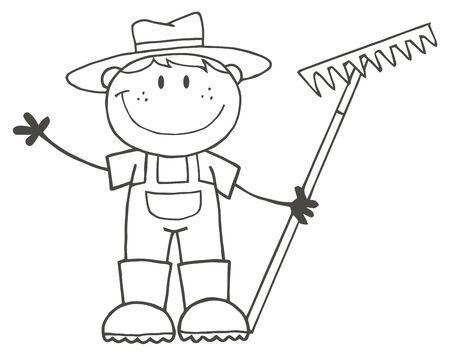 Esbozado Farmer Boy Holding A Rake Y Waving