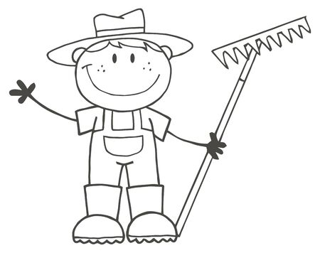 Outlined Farmer Boy Holding A Rake And Waving  Vector