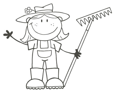 Outlined Farmer Girl Holding A Rake And Waving
