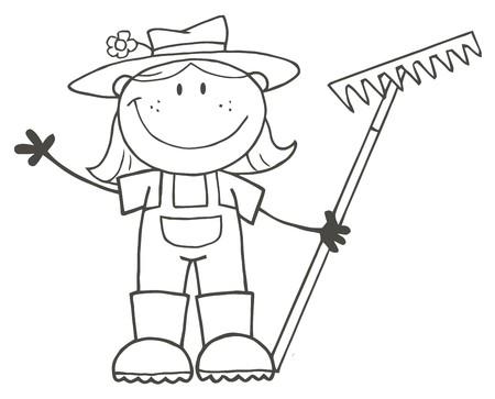 Outlined Farmer Girl Holding A Rake And Waving  Vector