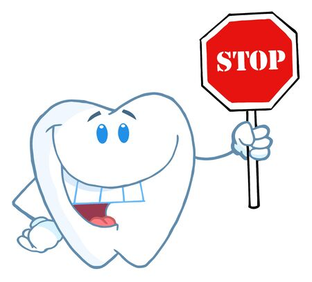 Tooth Character Smiling And Holding A Stop Sign  Illustration