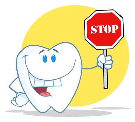 cleanliness: Tooth Character Holding A Stop Sign Over A Yellow Circle