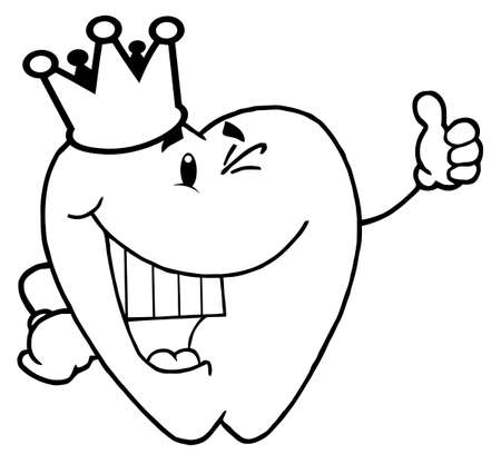 coloring book page: Coloring Page Outline Of A Tooth Character  Illustration