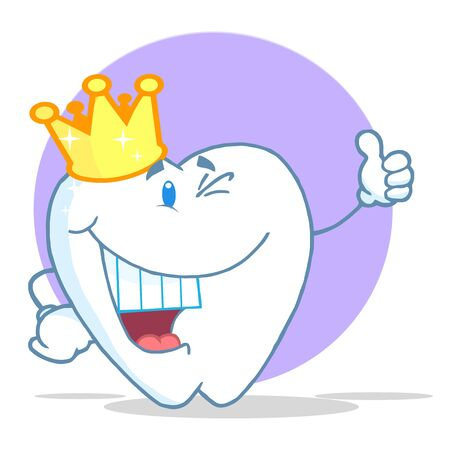 hygiene: Crowned Tooth Character Giving The Thumbs Up  Illustration