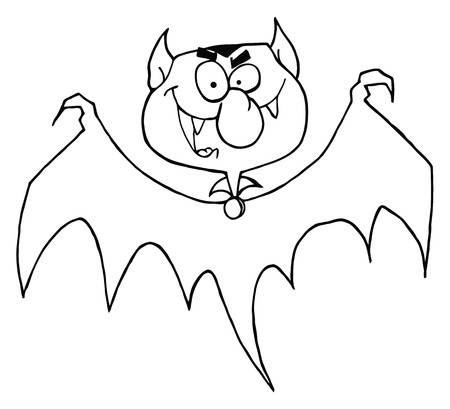 Outlined Flying Vampire  Vector