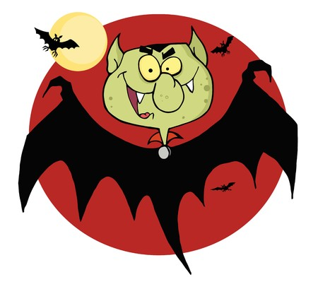 Flying Vampire By Bats And A Full Moon Stock Vector - 7849336