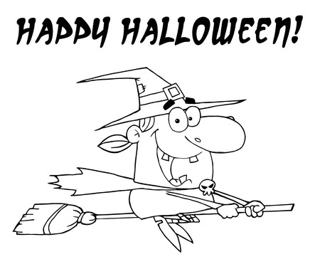 Outlined Wicked Halloween Witch Flying With Text Happy Halloween  Stock Vector - 7849411