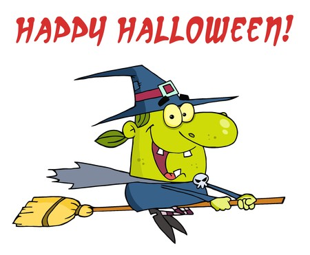 wicked: Wicked Halloween Witch Flying With Text Happy Halloween  Illustration