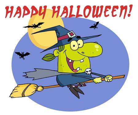 strega che vola: La malvagia Strega di Halloween, volando con il testo  Vettoriali