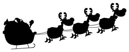 Black Silhouette Of Santa And A Reindeers Flying In A Sleigh  Illustration
