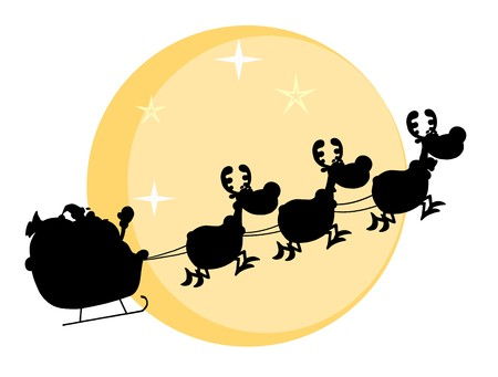 Black Silhouette Of Santa And A Reindeers Flying In Moon  Vector