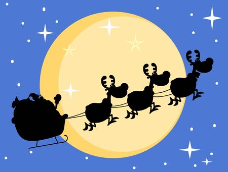 Silhouette Of Santa And A Reindeers Flying In Moon  Vector